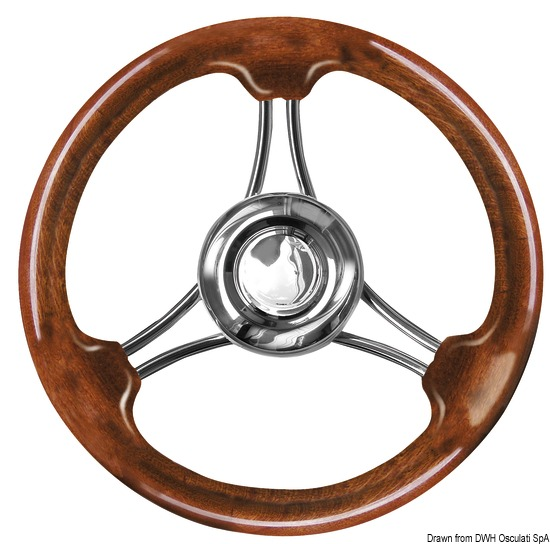 Magnifico Steering Wheel 3-Spoke /Ø 350 Osculati Volante Magnifico 3 razze /Ø mm 350 Teak